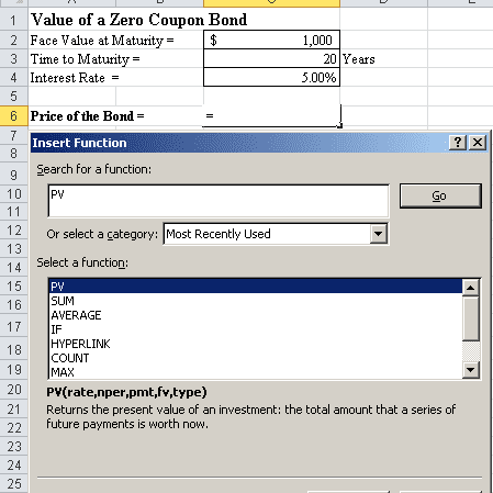 How to Calculate PV of a Different Bond Type With Excel