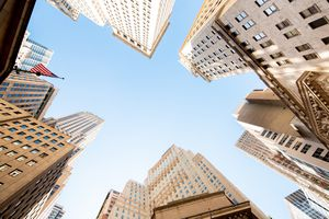 Skyscrapers at New York Stock exchange, view from below
