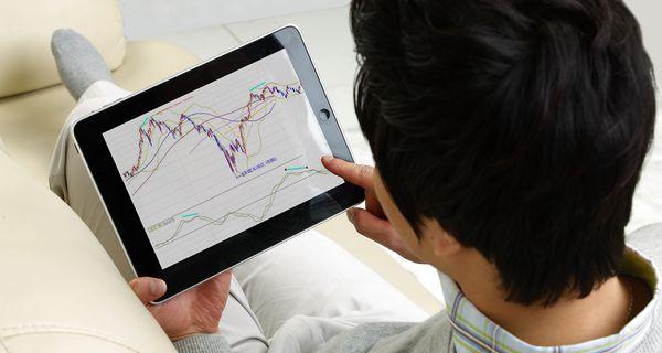 iPad stock trading chart