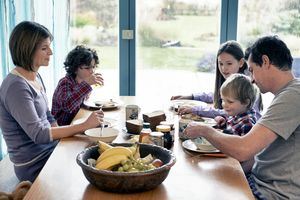 Family with 3 kids at breakfast table