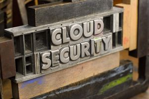 A metal plate reading cloud security