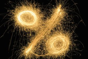 Percentage sign drawn with a sparkler