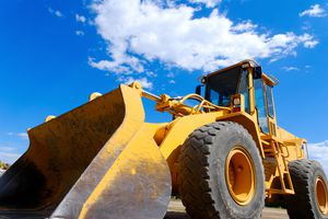 A front-end loader at a construction site
