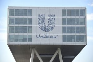 The logo of Unilever at the headquarters in Rotterdam.