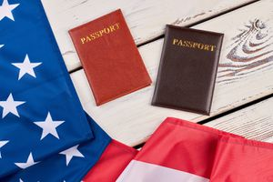 American Flag and Passports on Wood