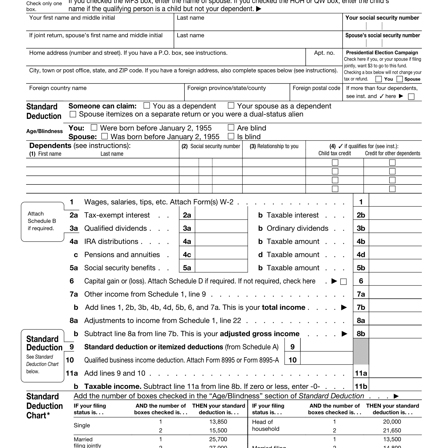 2018 Form 1040 Instructions Tax Table