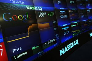 Google's stock price appears on the NASDAQ Marketsite